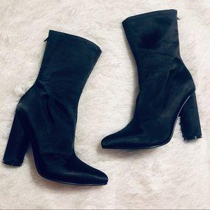Yoki Stretch Sock Booties - Black